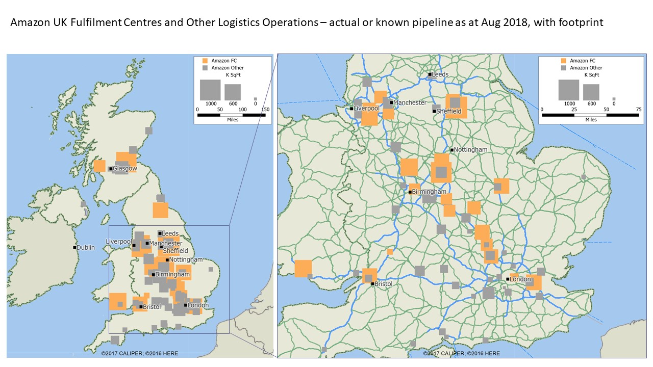 Aricia Update Graph - Amazon UK - 21 August 2018 - SqFt - MWPVL - Fulfilment Centres - Logistics Operations - Map - Logistics Statistics