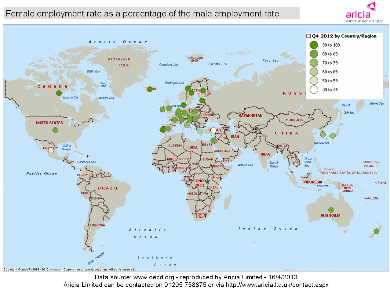 Aricia Update Map - Female Male - Rate of employment - OECD - 17 April 2013 - economic and gender statistics