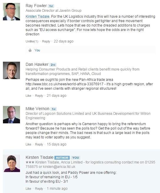 Linkedin conversation - 10 June 2015 - Ray Fowler - Dan Hawker - Mike Vernon