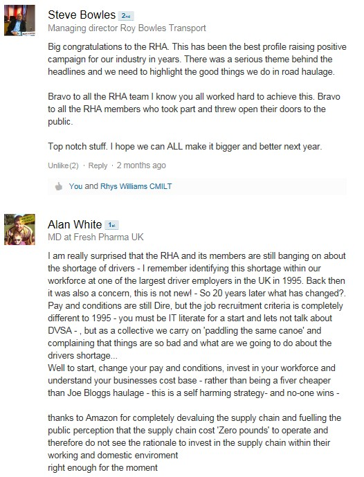 Linkedin conversation - RHA - Steve Bowles - Alan White