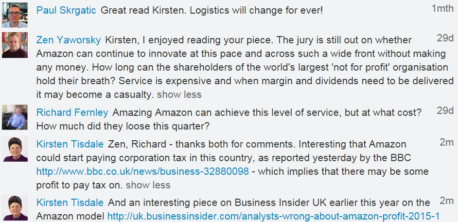 Linkedin conversation - 27 May 2015 - Paul Skrgatic - Zen Yaworsky - Richard Fernley - Amazon Profit Loss - eCommerce Statistics